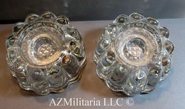 Princess House 0486 Crystal Glass Taper or Pillar Candle Holders 2 Piece Set - $21.75