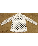 VALERIE STEVENS WHITE BLACK POLKA DOT TOP BLOUSE BUTTON SHIRT ROLL UP SL... - $14.99