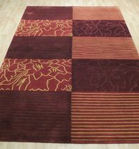 Abstract Shades of Red Gold stripes Handmade 6 x 8 Red Modern Wool & Silk Rug image 10
