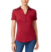 Karen Scott Size XXL Top Women Cotton Polo Top Daring Dynasty Dark Red S... - $16.33