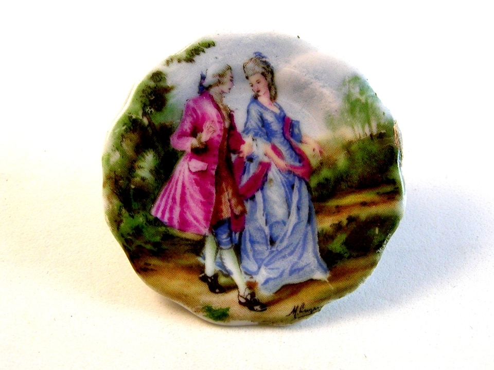 Portrait 18th Century Couple Brooch Signed Coal Port China England