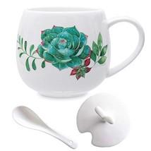 Succulent Mug Set Cute Ceramic Coffee Mugs, 13oz Succulent Coffee Mug wi... - $18.49
