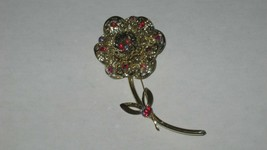 """Vintage Sarah Coventry floral Pin. Red Stones. No Damage 4"""" long - $7.91"""