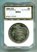 1891-CC SPITTING EAGLE TOP 100 MORGAN DOLLAR CHOICE UNCIRCULATED /GEM CH... - $965.00