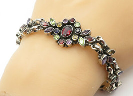 925 Sterling Silver - Vintage Multi-Gemstone Floral Design Chain Bracele... - $98.23