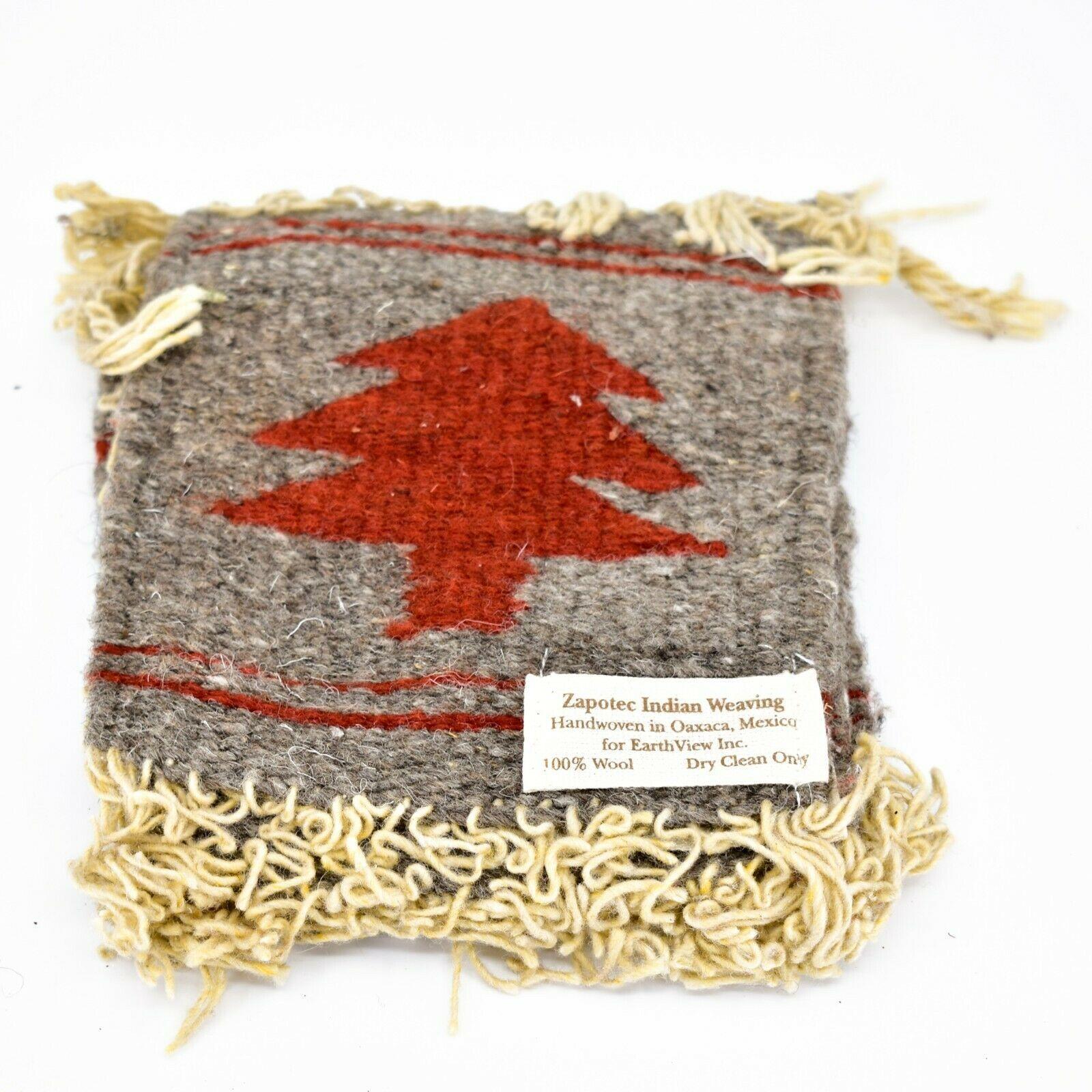 Handmade Zapotec Indian Weaving Hand-Woven Pine Tree Gray Wool Coaster Set of 4