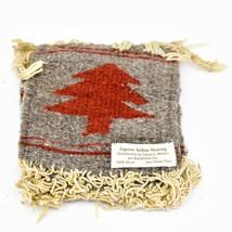 Handmade Zapotec Indian Weaving Hand-Woven Pine Tree Gray Wool Coaster Set of 4 image 1