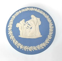Vintage WEDGWOOD Blue Jasperware Round Lidded Trinket Box w/ Cherub Mask pattern - $29.69