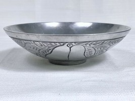 Aluminum Fruit Salad Serving Bowl Silver Pewter Grapes Pears Cherries 7-... - $9.79