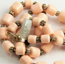 """28"""" J Crew Statement Necklace Pale Coral Pink Plastic Beads Pave Rhinestone Nwt - $30.00"""