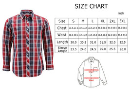 Men's Cotton Casual Long Sleeve Classic Collared Plaid Button Up Dress Shirt image 2