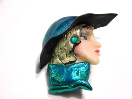 Female Fashionable Face Pin Turquoise Color Hat Scarf Vintage Figural - $17.99