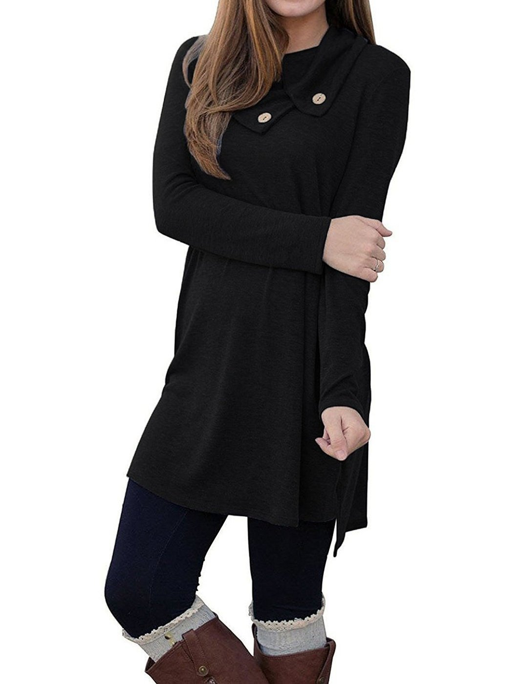 Women's Long Sleeve Dress Pure Color Pile Collar Casual Shirt Dress