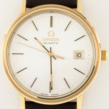 Omega Men's Quartz Gold-Plated Watch w/ Leather Band Model #1342 - $989.99