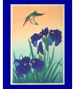 "8x10"" Cotton Canvas Print, Vintage, Asian, Hummingbird, Blue Iris, Flora... - $15.99"