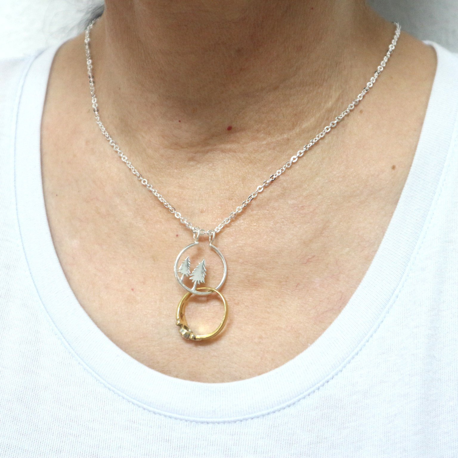 Silver Pine Tree Ring Holder Necklace image 2
