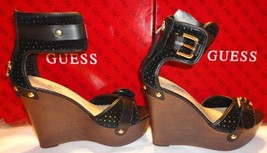 new guess Clany Platform Wedges size 8.5 black suede and leather - $60.00