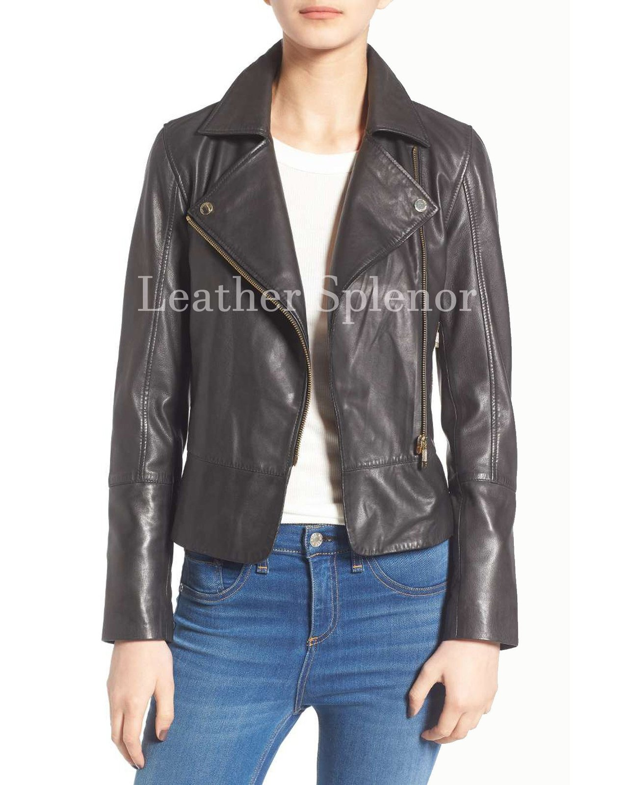 Notch Collar Style Women Leather Jacket