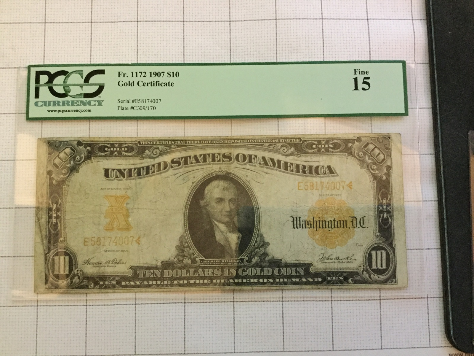 Primary image for 1907 US $10 Dollar Gold Certificate Bank Note PCGS Fine15