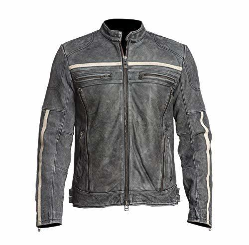 Mens Retro Motorcycle Cafe Racer Rider Distressed Black Biker Leather Jacket