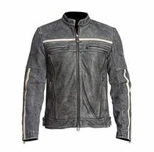 Mens Retro Motorcycle Cafe Racer Rider Distressed Black Biker Leather Jacket image 1