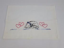 Hand Embroidered Cat Pillowcase Kitten Kitty Hearts Needlepoint Cross St... - $29.69