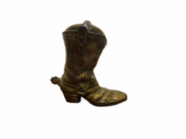 "Vintage 9"" Solid Brass Cowboy Boot w/ Spur Planter Vase Artbrass Giftmakers image 4"