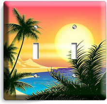 BEAUTIFUL CALIFORNIA BAY SUNRISE PALMS 2 GANG LIGHT SWITCH WALL PLATE RO... - $12.99