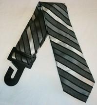 George Men's Neck Tie Black Charcoal Gray Stripe Dress Tie New - $10.19