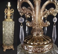 Prism lamp HOLLYWOOD REGENCY table mid century brass clear glass tall OR... - $55.65