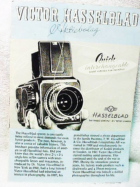 Hasselblad 1000F/1600F Pamphlet  5 panel fold out 1980 (xero