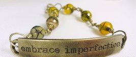 Embrace Imperfection Metal Wired Bracelet with Olive Fire Agates - $21.00