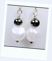 White Fresh Water Cultured Pearls and Hematite Earrings with Silver Ear ... - $25.00