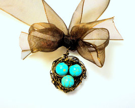 Robins Egg Nest Ribbon Necklace - $22.00