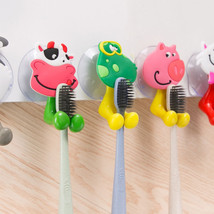 Bathroom Sucker Set Family Hanger Toothbrush Holders Cute Silicone Anima... - $2.00