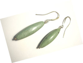 Seafoam Green Jasper Dangle Earrings Wire Wrapped in Silver - $18.00