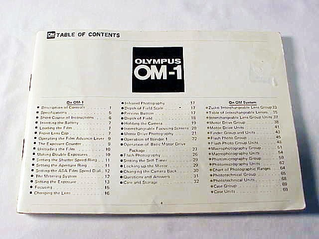 OM-1 Olympus Instruction Booklet, 70pgs (missing cover)