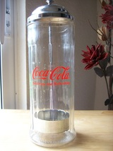 1992 Coca Cola Vintage Replica Glass Straw Dispenser  - $40.00