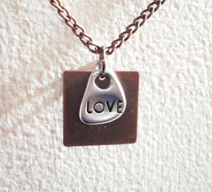 "Square Copper Plate With Silver ""Love"" Dangle o... - $16.00"
