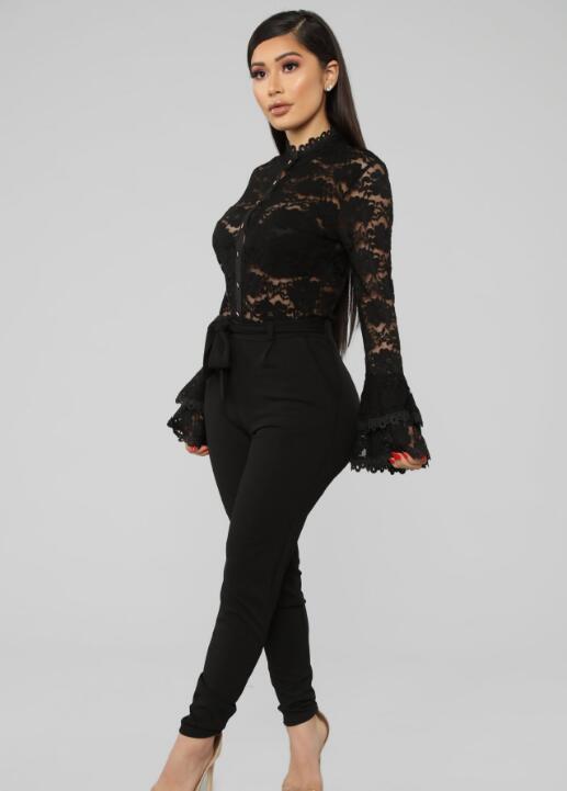 Perspective Lace Flower Net Trumpet Sleeve One-piece Top Slim Fit jumpsuit