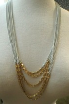 Monet Necklace Multi Chain Designer Gold Plated White Enamel Links Knob ... - $32.66