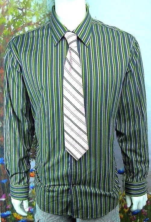 GAP Fitted Premium -Olive Green-Purple -STRIPED-BUTTON-DOWN-SHIRT-S-2XL