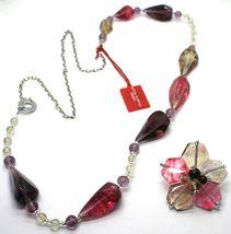 Necklace Antica Murrina Venezia, Glass Murano, 90 cm, CO561A29, Flower Drops Red image 2
