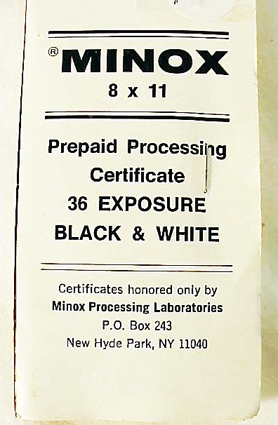 Minox Prepaid Processing Mailer for 36 exposure Black & Whit