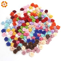 100PCS/Lot Mini Handmade Satin Rose Ribbon Rosettes Fabric Flower Bow Ap... - ₨837.46 INR