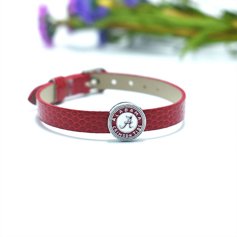 S american university sports team ncaa alabama alloy enamel slide charm leather bracelet jewelry