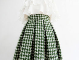 Women Green Houndstooth Midi Skirt A-line Winter Wool Midi Party Skirt Plus Size image 4