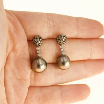 Black Pearl Earrings 18k White gold and Diamonds handing earrings UK BHS - $679.72