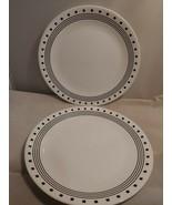 Corelle Livingware Black/White Glass City Block dinner Plate lot of 2 - $20.56