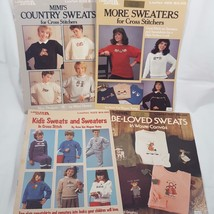 Cross Stitch Pattern Book Lot Sweatshirt Clothing Applique Waste Canvas ... - $14.94
